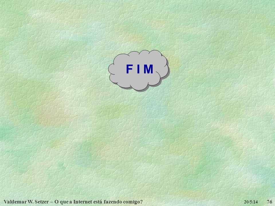 F I M Valdemar W. Setzer – O que a Internet está fazendo comigo