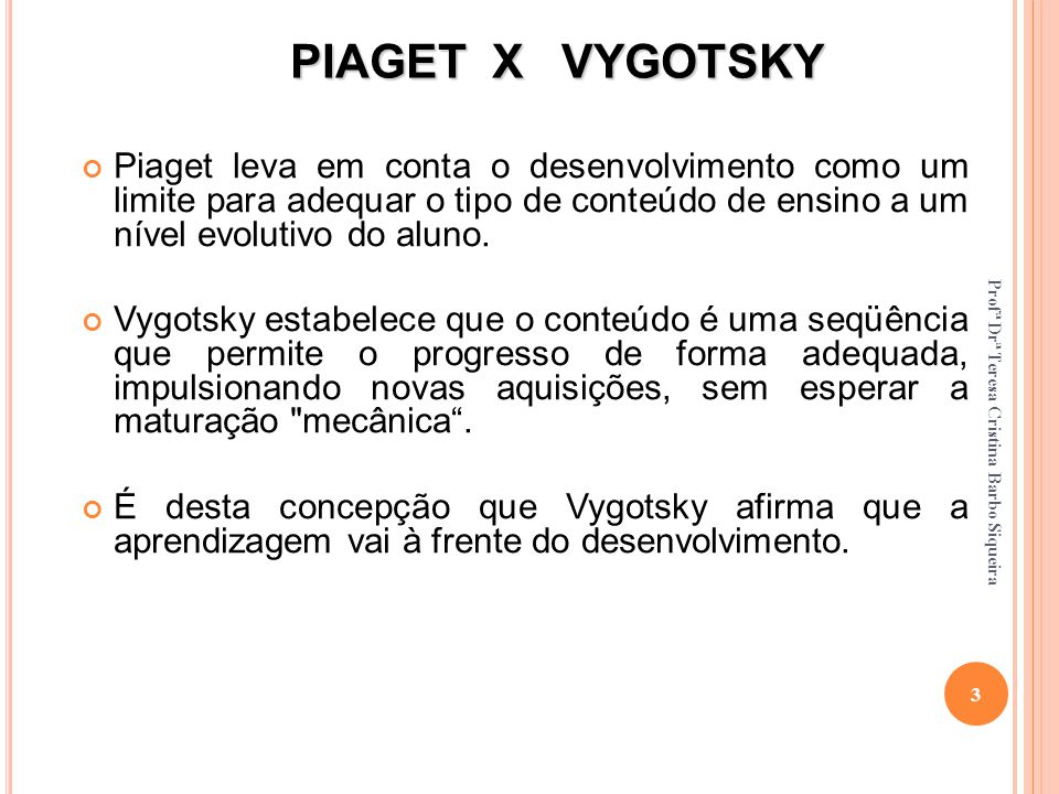 PIAGET X VYGOTSKY Piaget leva em conta o desenvolvimento como um limite para adequar o tipo de conteúdo de ensino a um nível evolutivo do aluno.