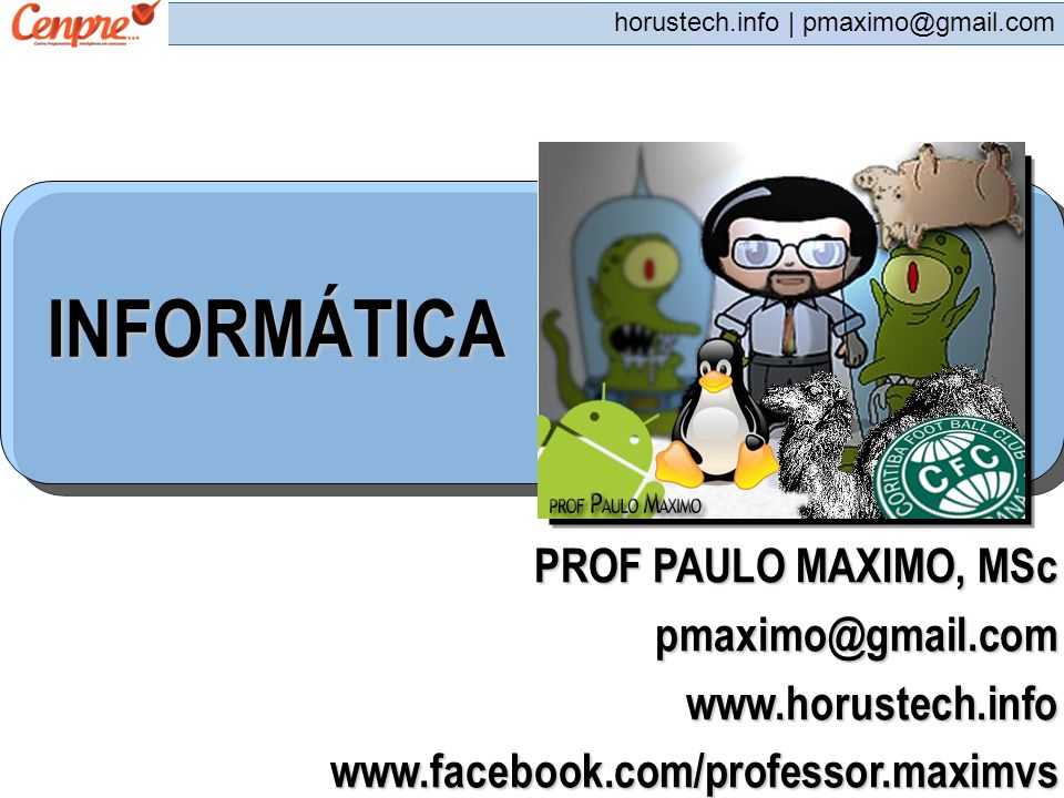 INFORMÁTICA PROF PAULO MAXIMO, MSc pmaximo@gmail.com