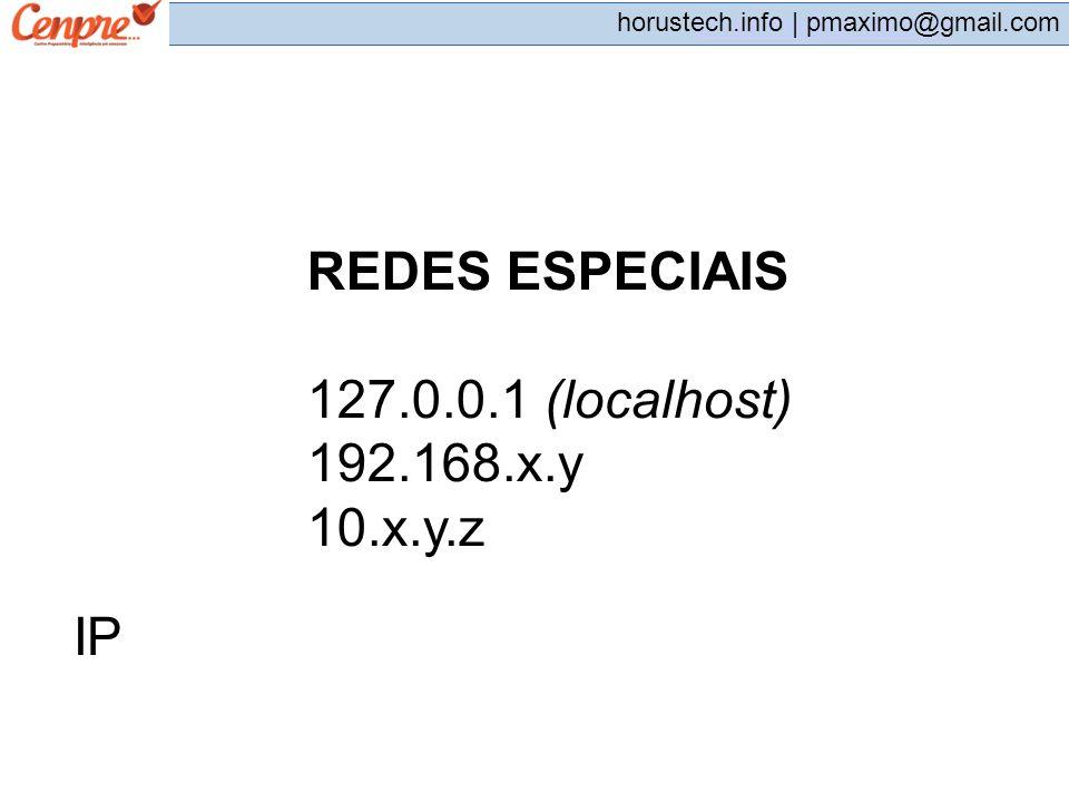 REDES ESPECIAIS 127.0.0.1 (localhost) 192.168.x.y 10.x.y.z IP