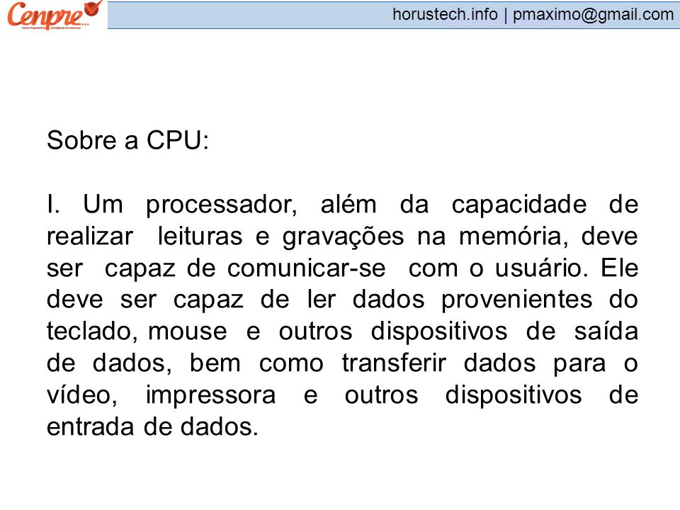 Sobre a CPU: