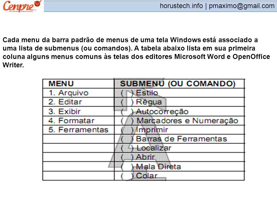 Cada menu da barra padrão de menus de uma tela Windows está associado a