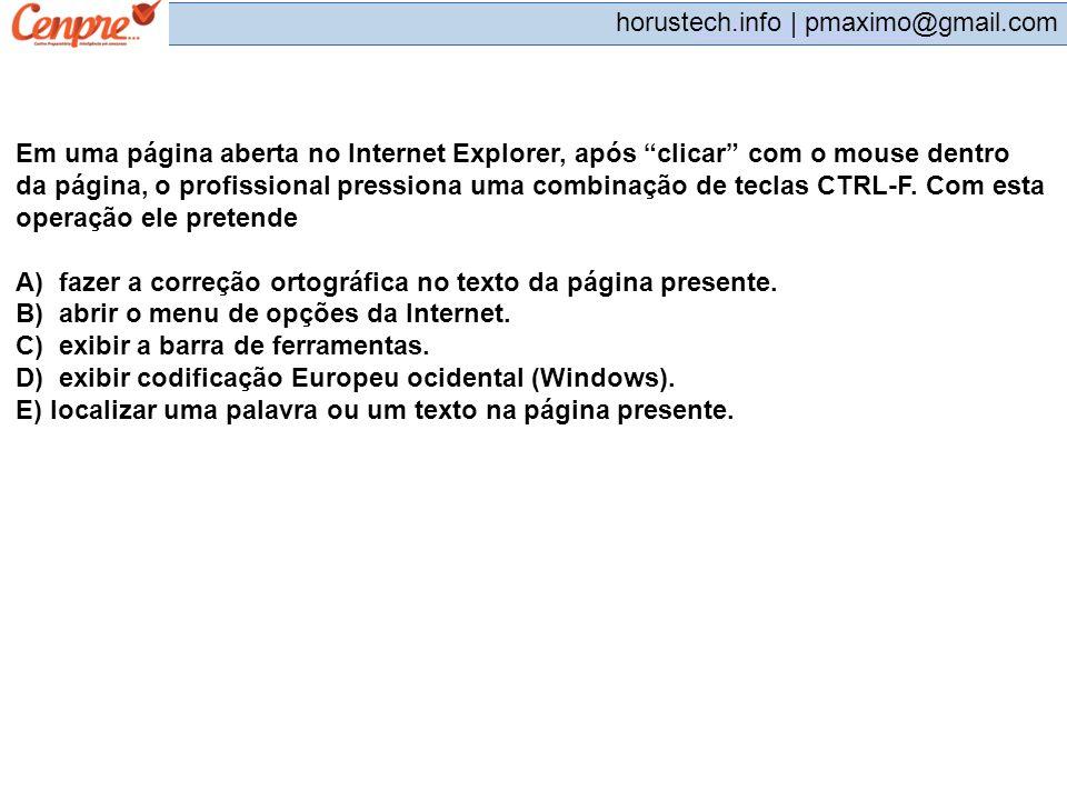 Em uma página aberta no Internet Explorer, após clicar com o mouse dentro