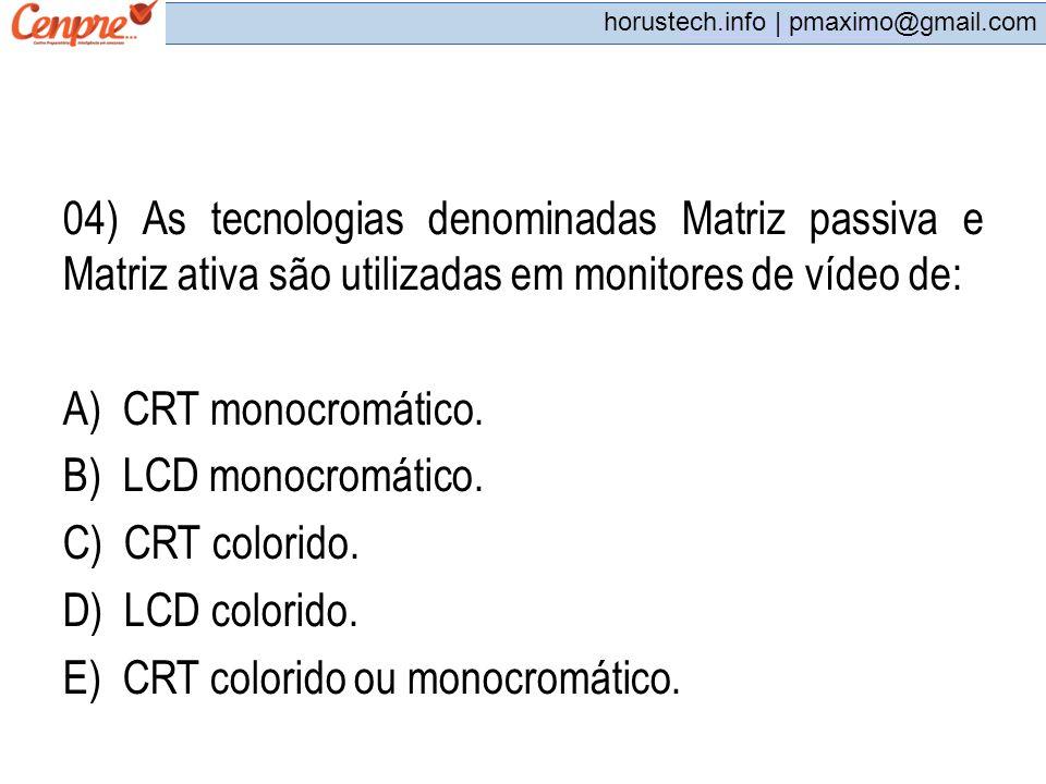 E) CRT colorido ou monocromático.
