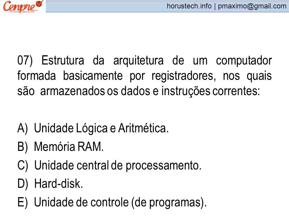 A) Unidade Lógica e Aritmética. B) Memória RAM.