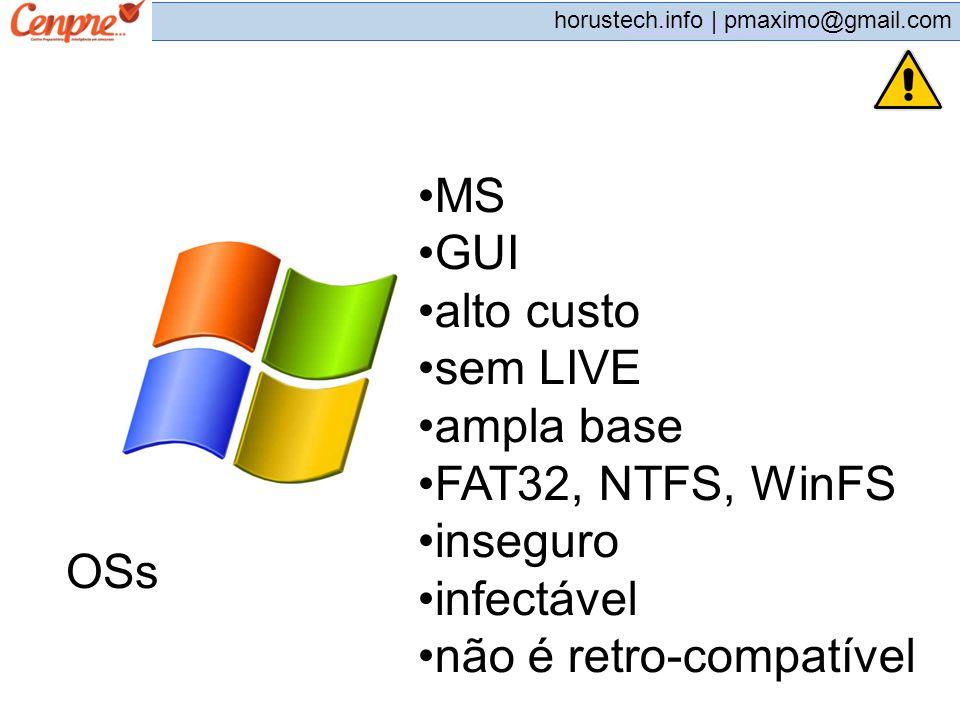 MS GUI. alto custo. sem LIVE. ampla base. FAT32, NTFS, WinFS. inseguro. infectável. não é retro-compatível.