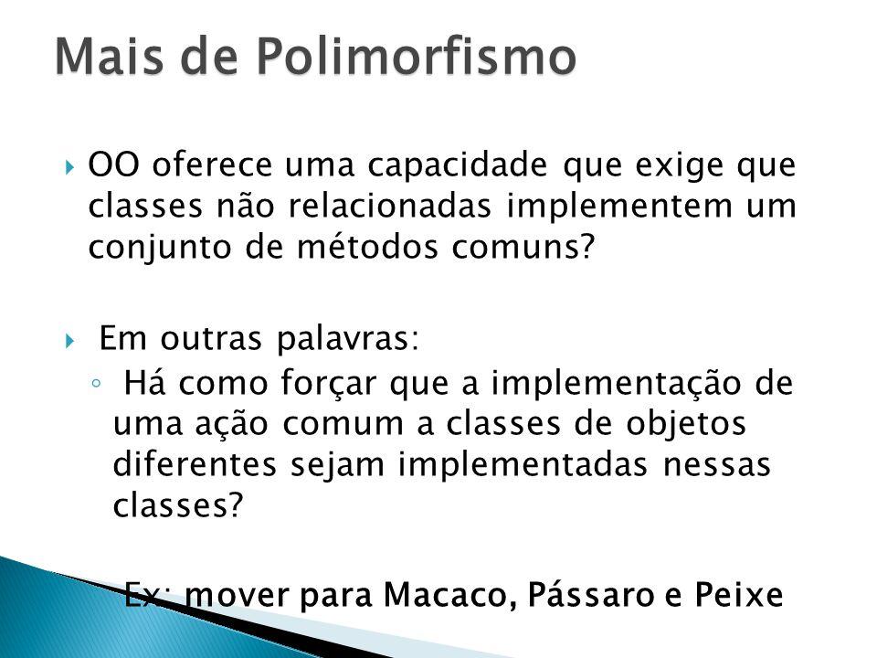 Mais de Polimorfismo OO oferece uma capacidade que exige que classes não relacionadas implementem um conjunto de métodos comuns