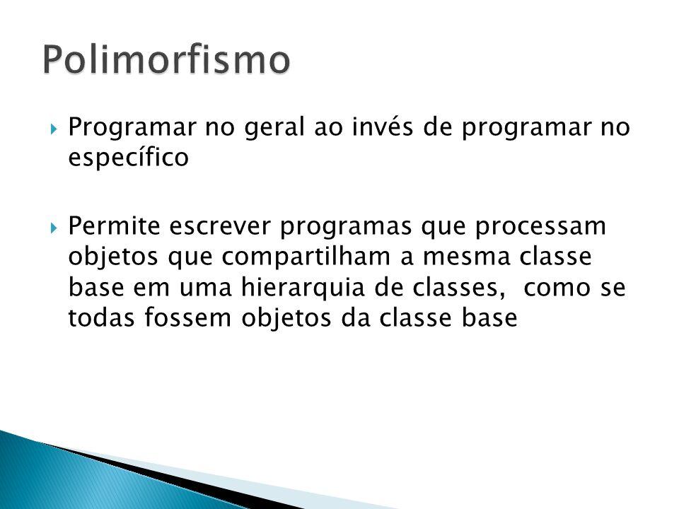 Polimorfismo Programar no geral ao invés de programar no específico