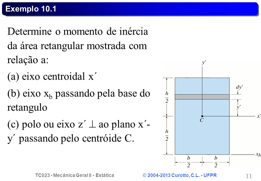 eixo xb passando pela base do retangulo