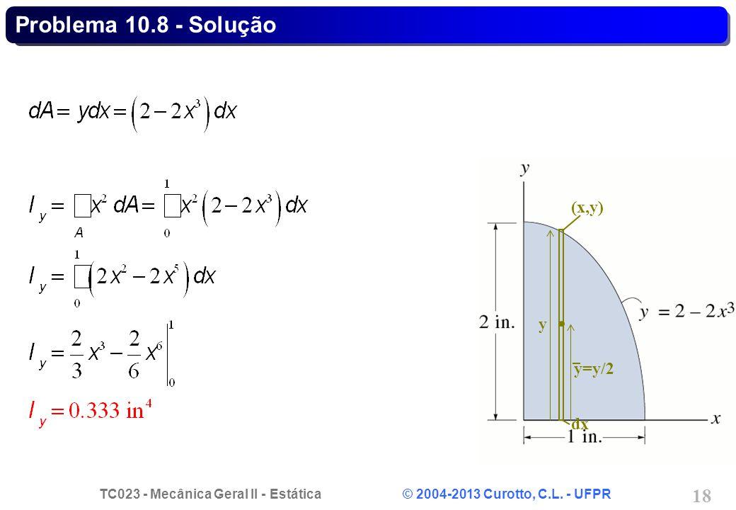 Problema 10.8 - Solução (x,y) y=y/2 dx y