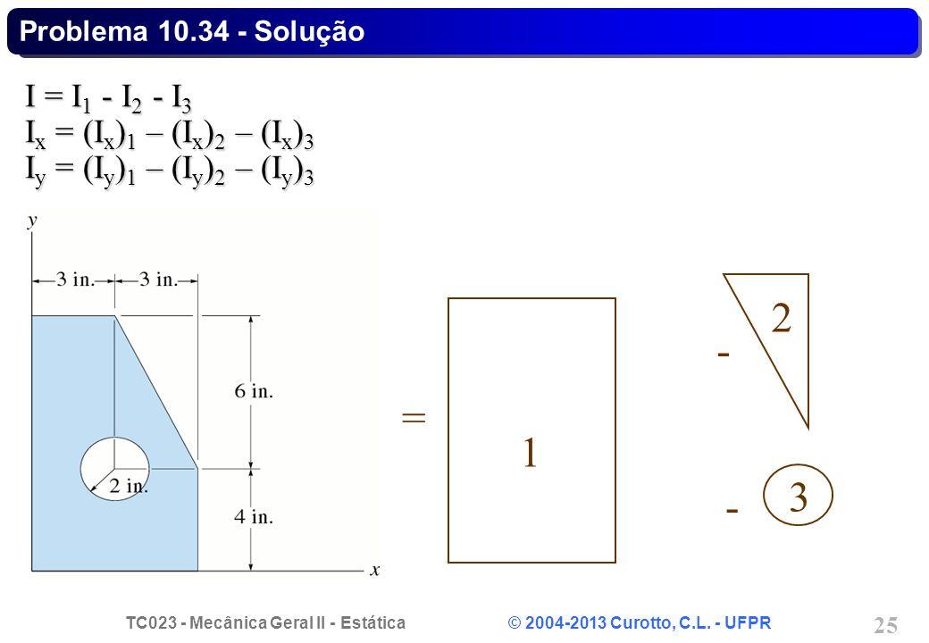 2 - = 1 3 - I = I1 - I2 - I3 Ix = (Ix)1 – (Ix)2 – (Ix)3
