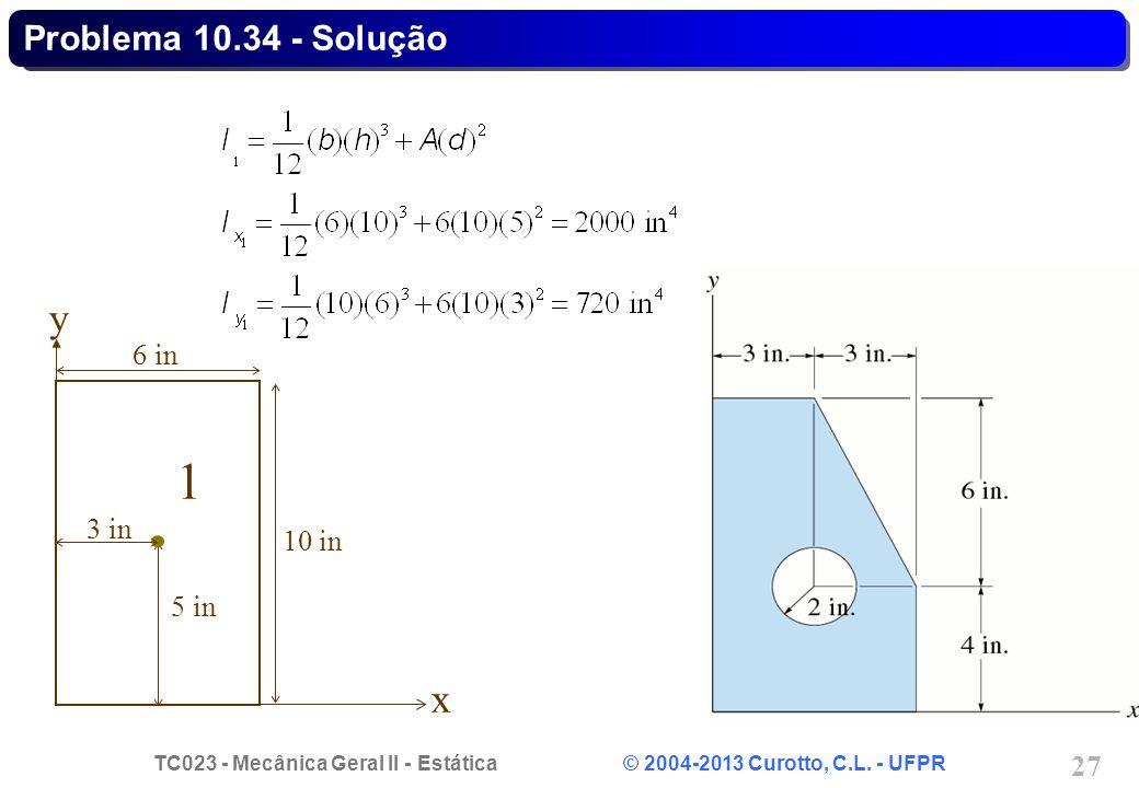 Problema 10.34 - Solução 1 x y 10 in 6 in 5 in 3 in