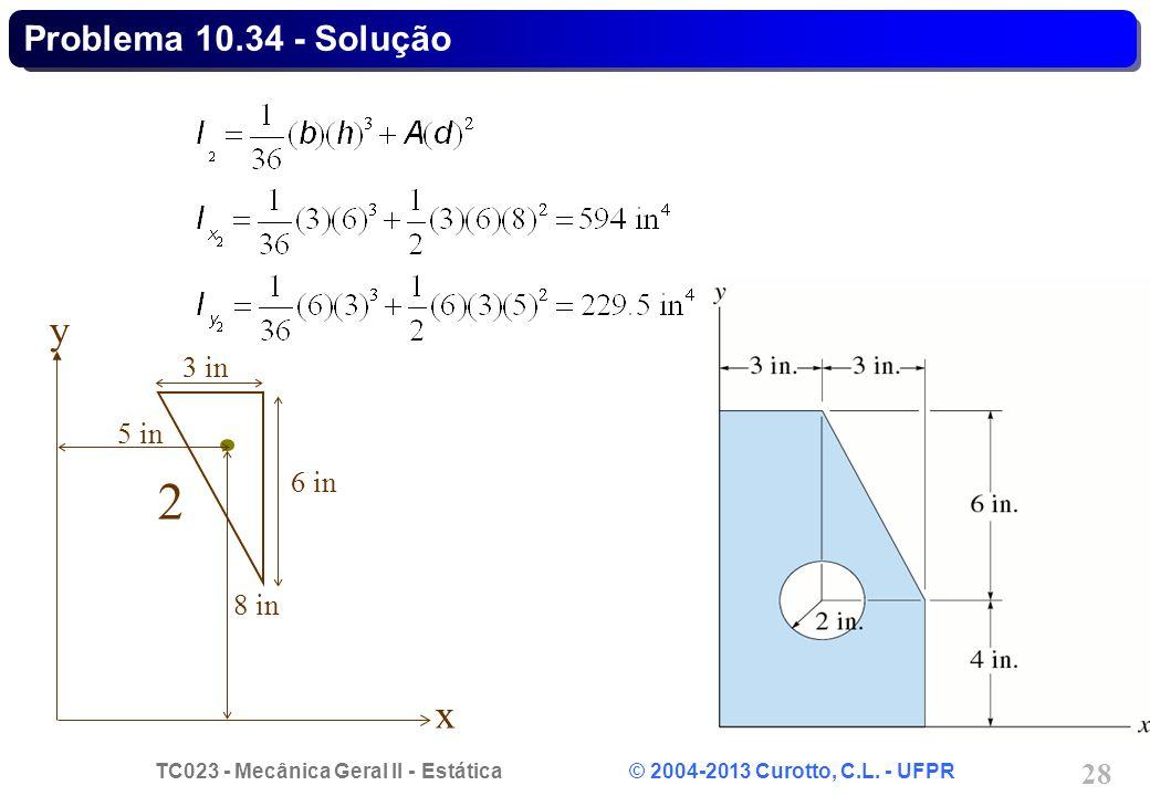 Problema 10.34 - Solução 2 x y 6 in 3 in 8 in 5 in