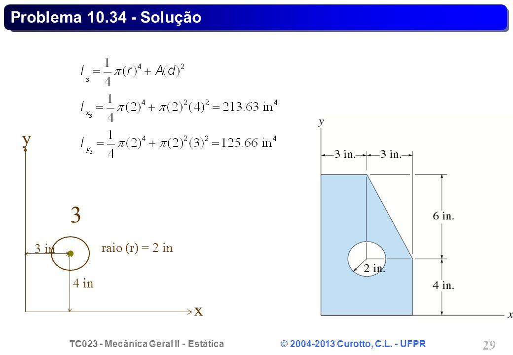 Problema 10.34 - Solução y 3 3 in raio (r) = 2 in 4 in x