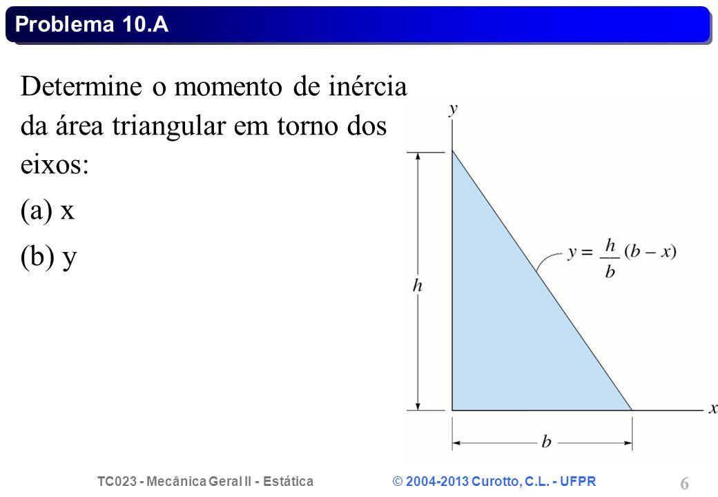 Determine o momento de inércia da área triangular em torno dos eixos: