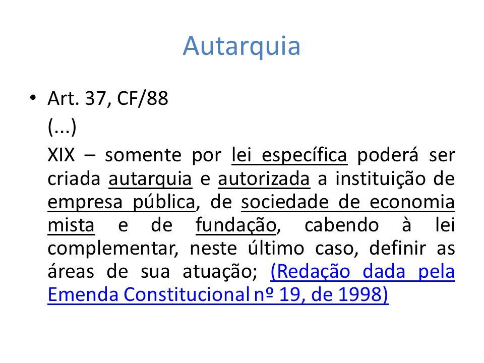 Autarquia Art. 37, CF/88. (...)