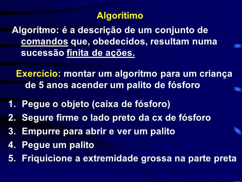 Algorítimo Algorítmo: é a descrição de um conjunto de comandos que, obedecidos, resultam numa sucessão finita de ações.
