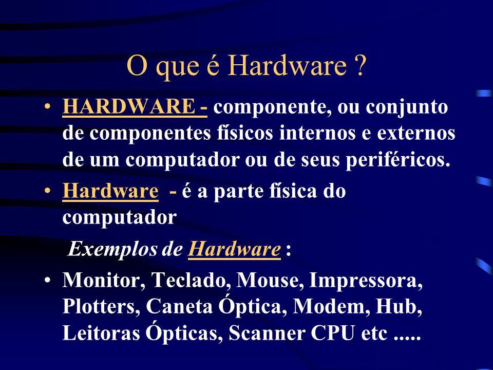 O que é Hardware HARDWARE - componente, ou conjunto de componentes físicos internos e externos de um computador ou de seus periféricos.