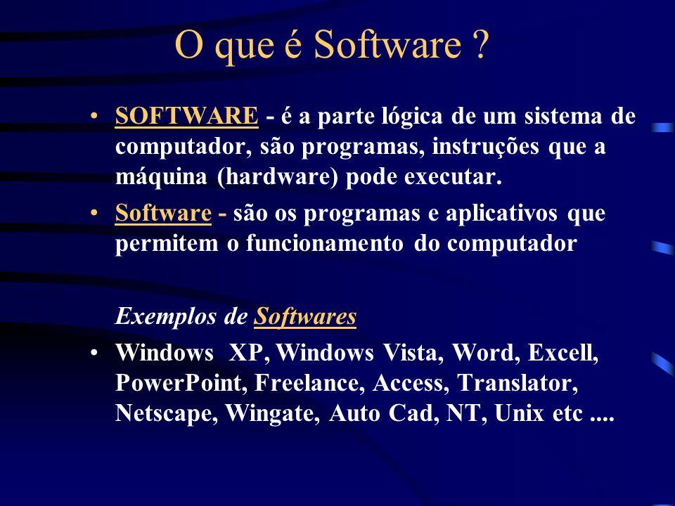 O que é Software SOFTWARE - é a parte lógica de um sistema de computador, são programas, instruções que a máquina (hardware) pode executar.