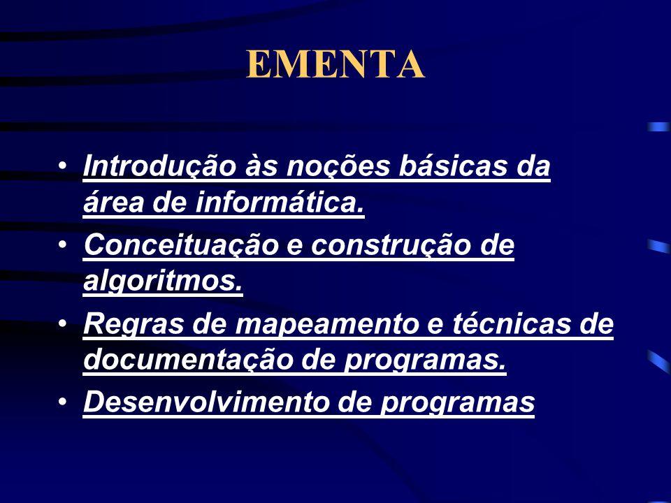 EMENTA Introdução às noções básicas da área de informática.