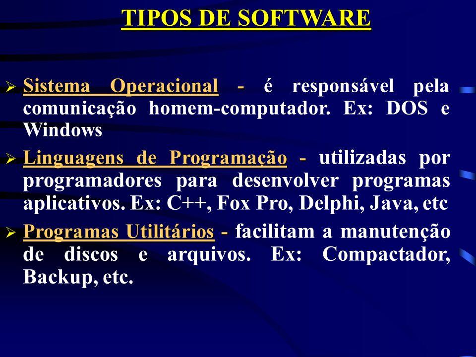 TIPOS DE SOFTWARE Sistema Operacional - é responsável pela comunicação homem-computador. Ex: DOS e Windows.