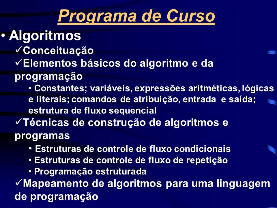 Programa de Curso Algoritmos Conceituação