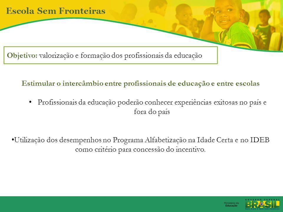 Escola Sem Fronteiras Objetivo: valorização e formação dos profissionais da educação.