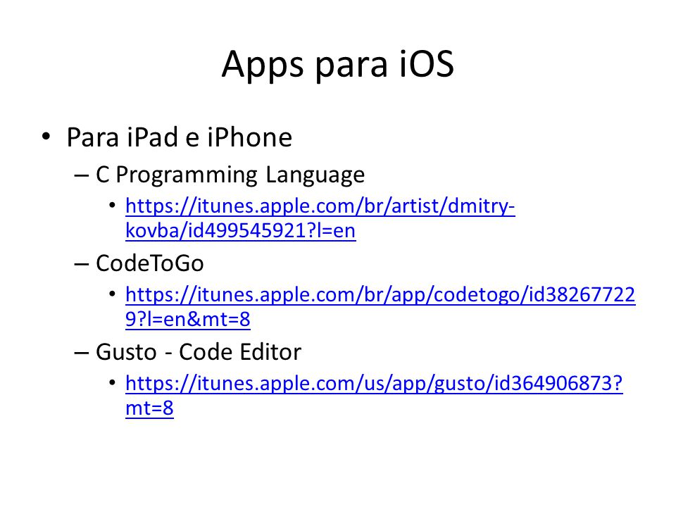 Apps para iOS Para iPad e iPhone C Programming Language CodeToGo
