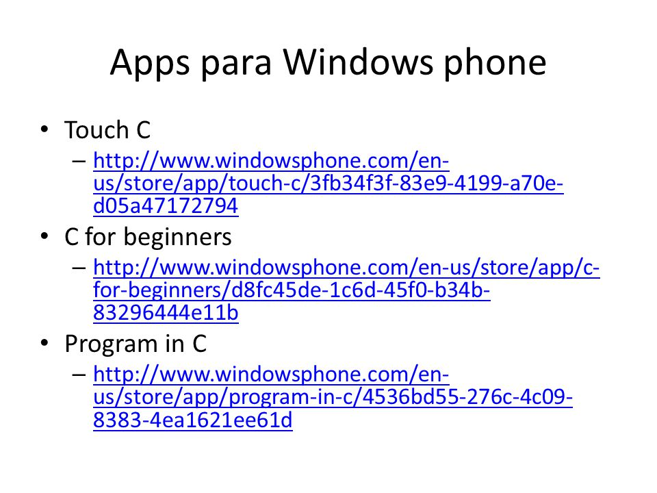 Apps para Windows phone