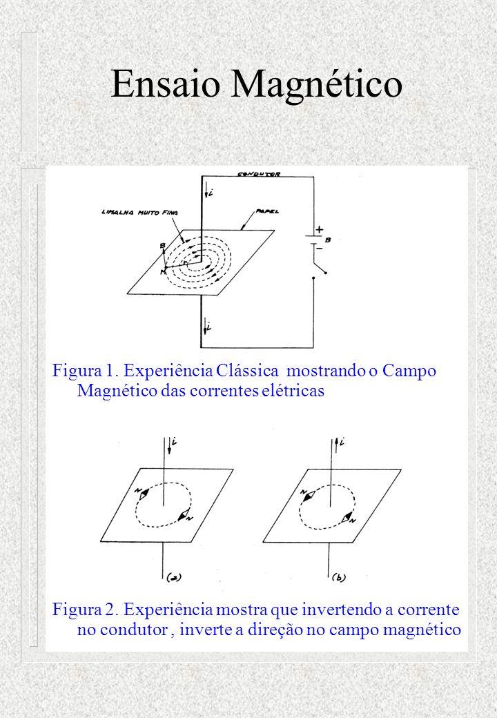 Ensaio Magnético Figura 1. Experiência Clássica mostrando o Campo Magnético das correntes elétricas.