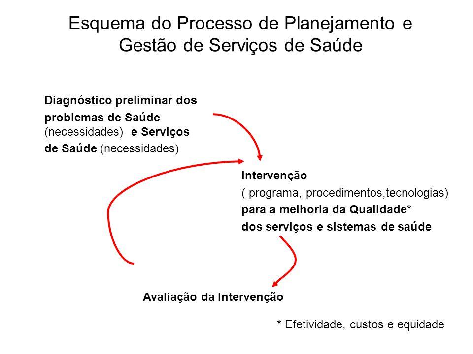 Esquema do Processo de Planejamento e Gestão de Serviços de Saúde