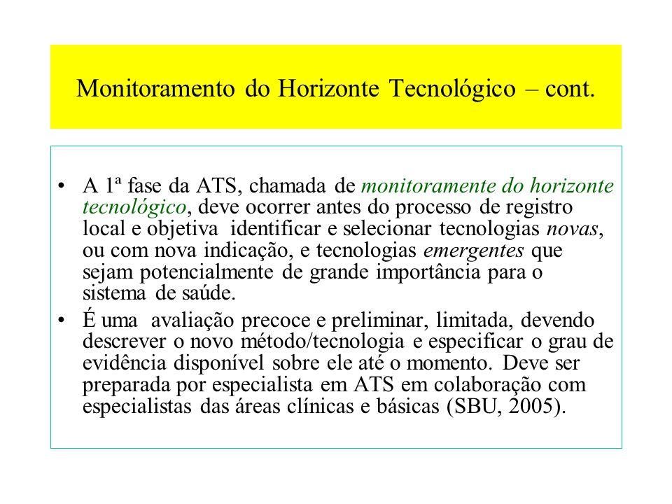 Monitoramento do Horizonte Tecnológico – cont.