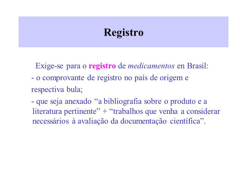 Registro Exige-se para o registro de medicamentos en Brasil: