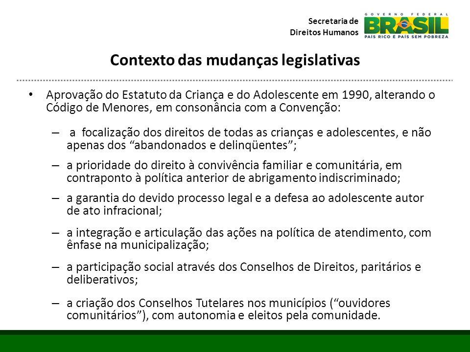 Contexto das mudanças legislativas
