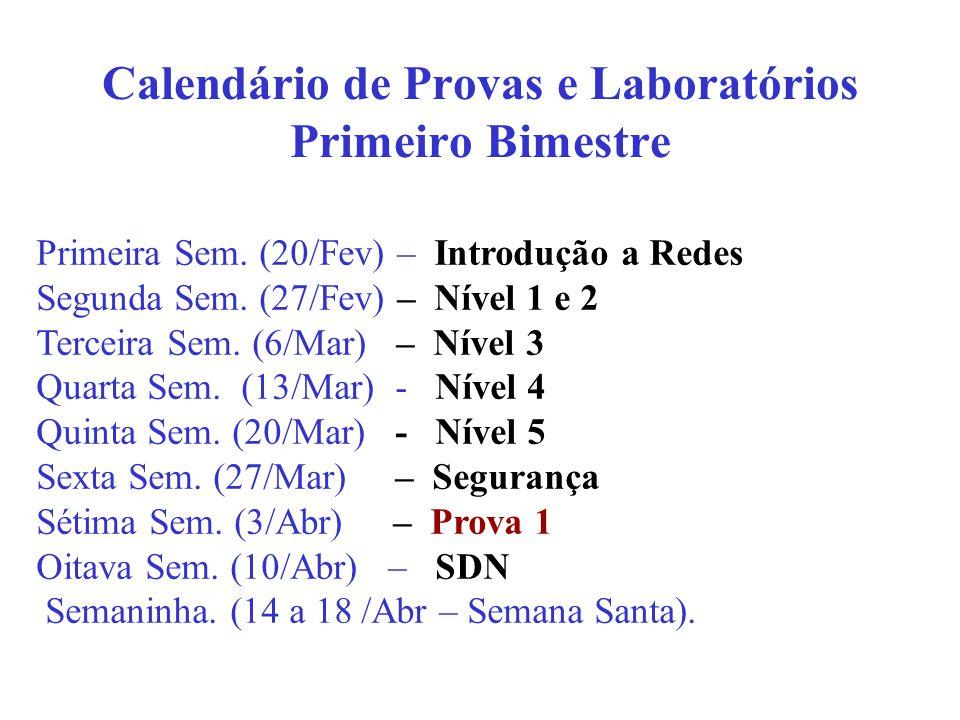 Calendário de Provas e Laboratórios Primeiro Bimestre