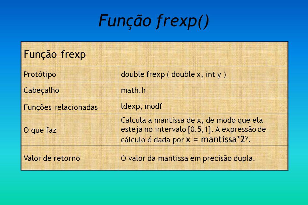 Função frexp() Função frexp Protótipo double frexp ( double x, int y )