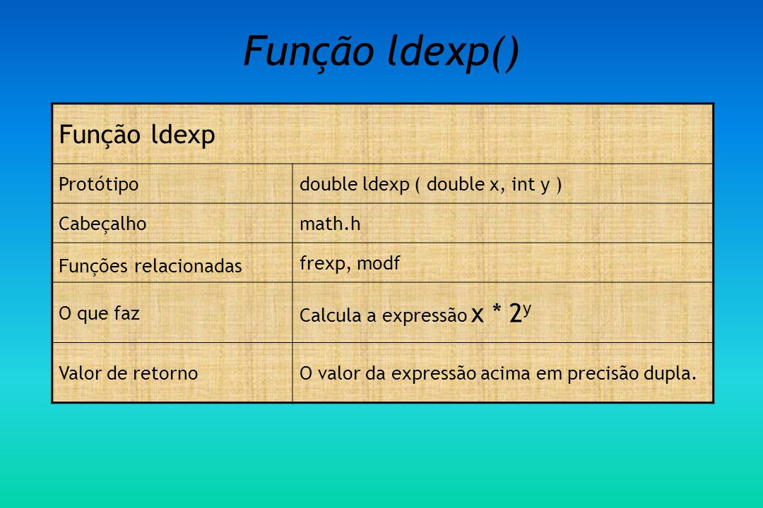 Função ldexp() Função ldexp Protótipo double ldexp ( double x, int y )