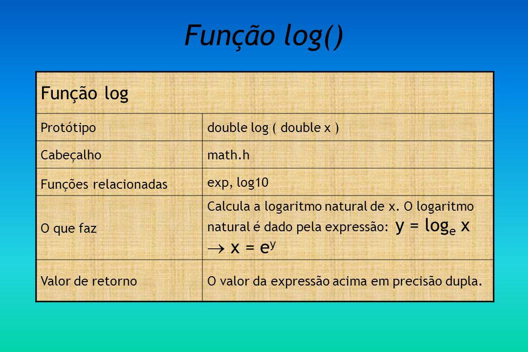 Função log() Função log Protótipo double log ( double x ) Cabeçalho
