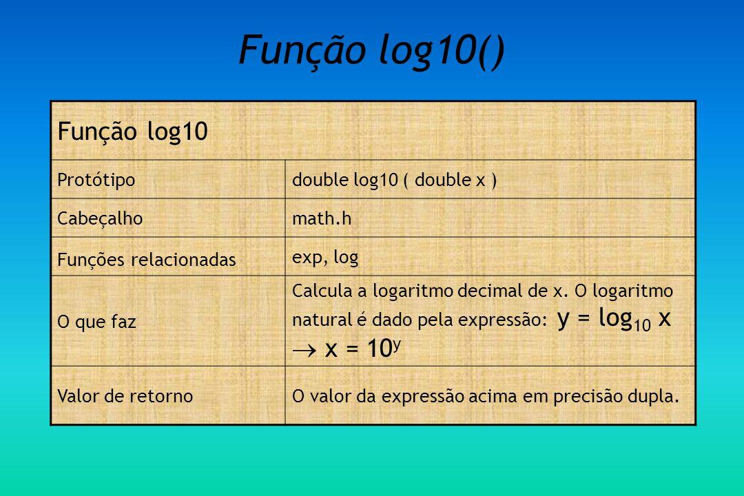 Função log10() Função log10 Protótipo double log10 ( double x )