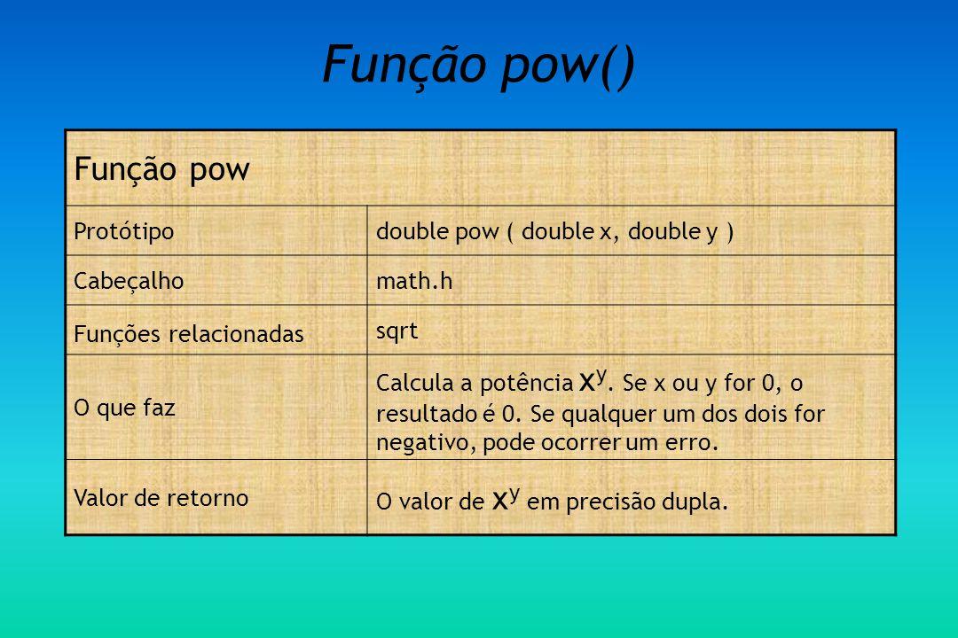 Função pow() Função pow Protótipo double pow ( double x, double y )