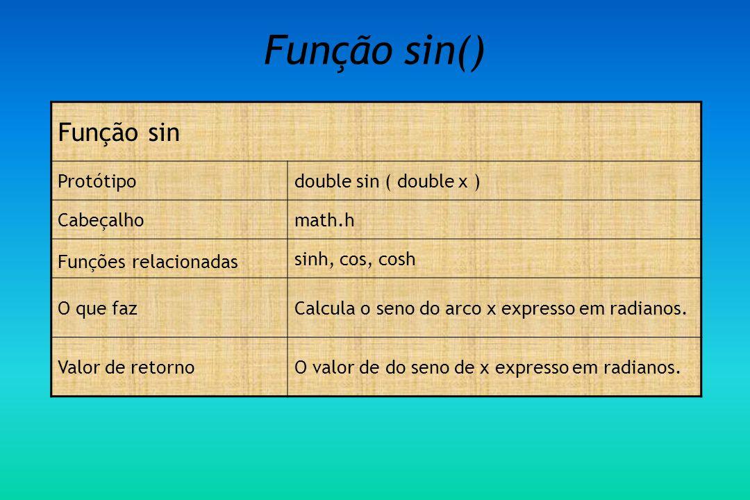 Função sin() Função sin Protótipo double sin ( double x ) Cabeçalho