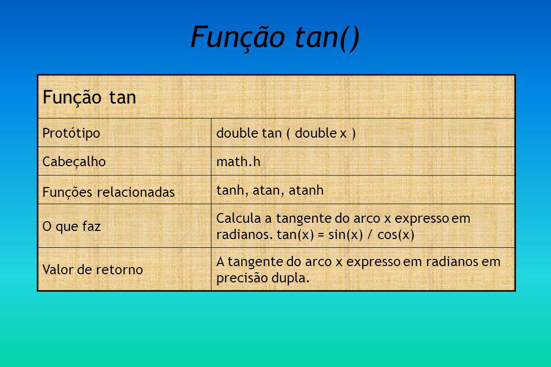 Função tan() Função tan Protótipo double tan ( double x ) Cabeçalho
