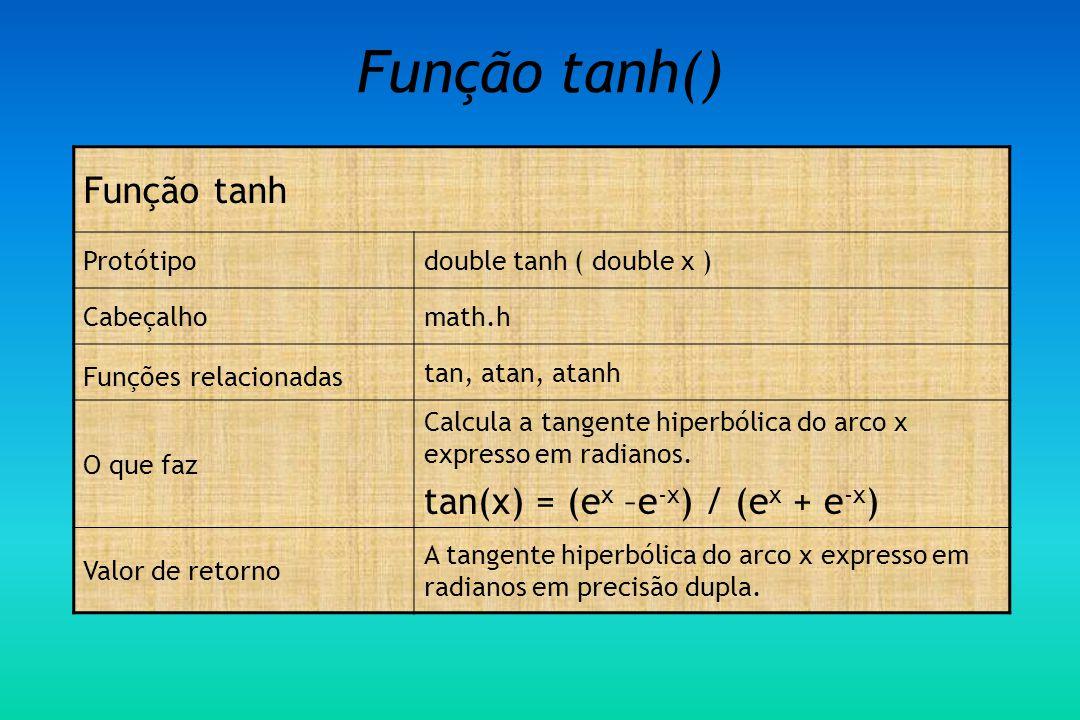 Função tanh() Função tanh tan(x) = (ex –e-x) / (ex + e-x) Protótipo