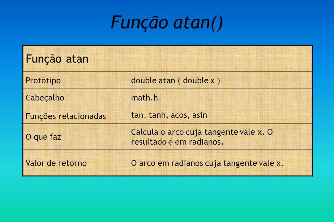 Função atan() Função atan Protótipo double atan ( double x ) Cabeçalho