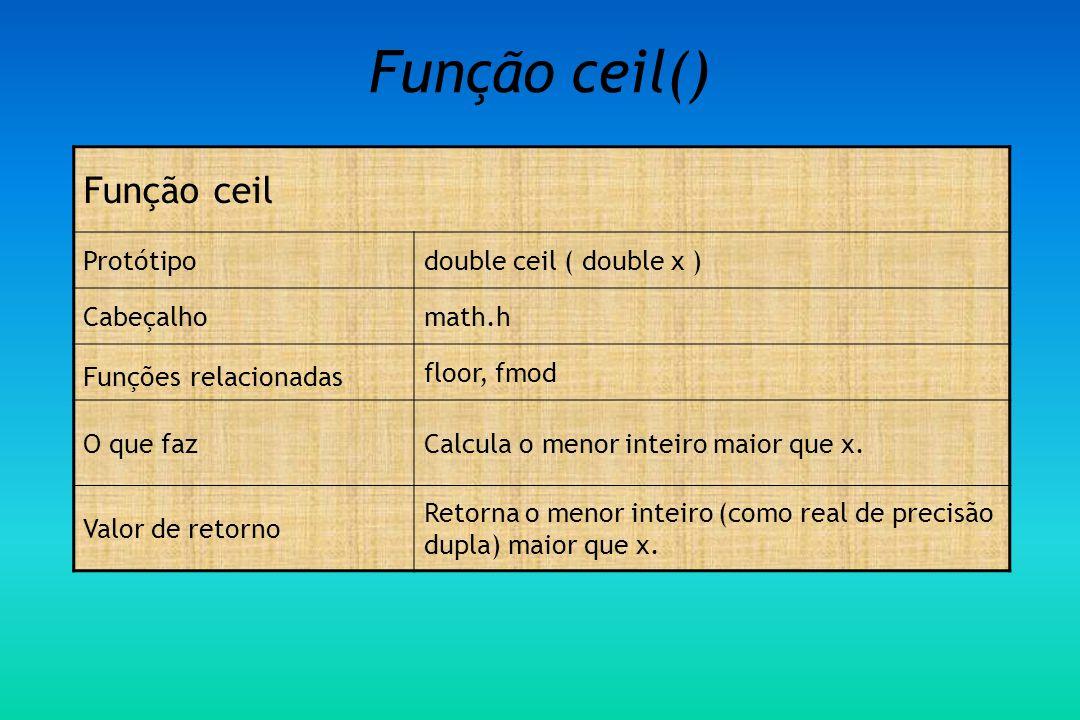Função ceil() Função ceil Protótipo double ceil ( double x ) Cabeçalho