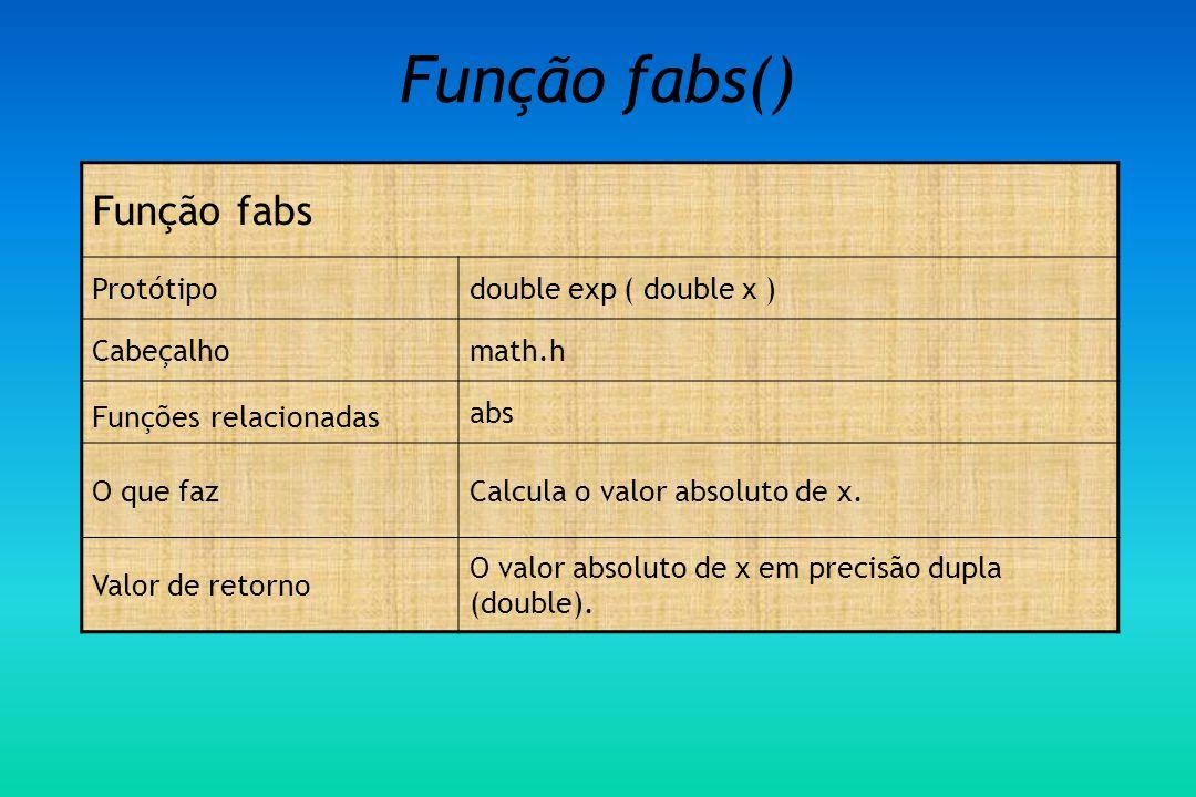 Função fabs() Função fabs Protótipo double exp ( double x ) Cabeçalho