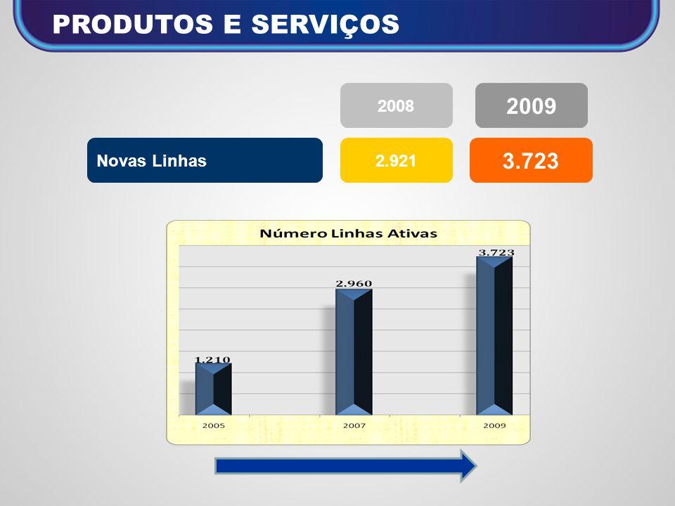 PRODUTOS E SERVIÇOS 2008 2009 Novas Linhas 2.921 3.723