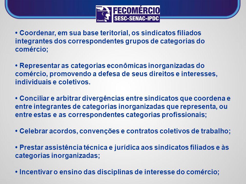 • Coordenar, em sua base teritorial, os sindicatos filiados integrantes dos correspondentes grupos de categorias do comércio;
