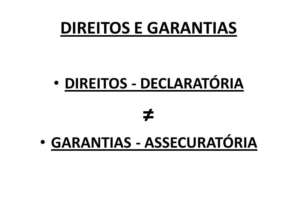 DIREITOS - DECLARATÓRIA GARANTIAS - ASSECURATÓRIA