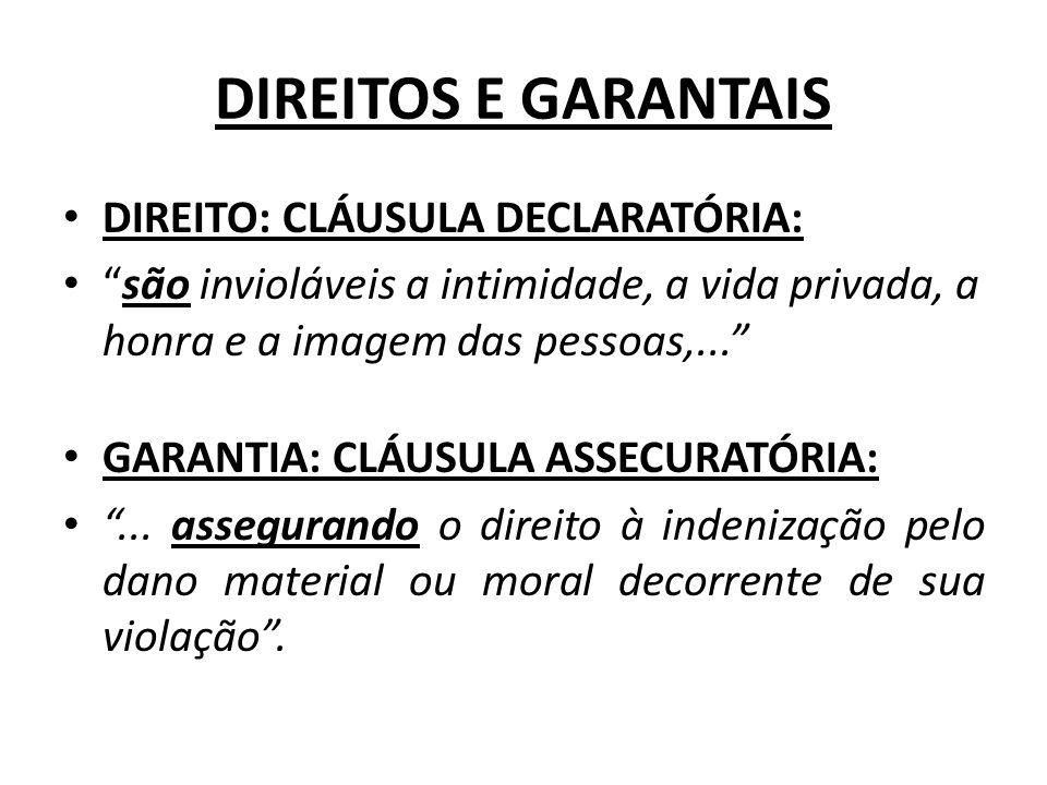 DIREITOS E GARANTAIS DIREITO: CLÁUSULA DECLARATÓRIA: